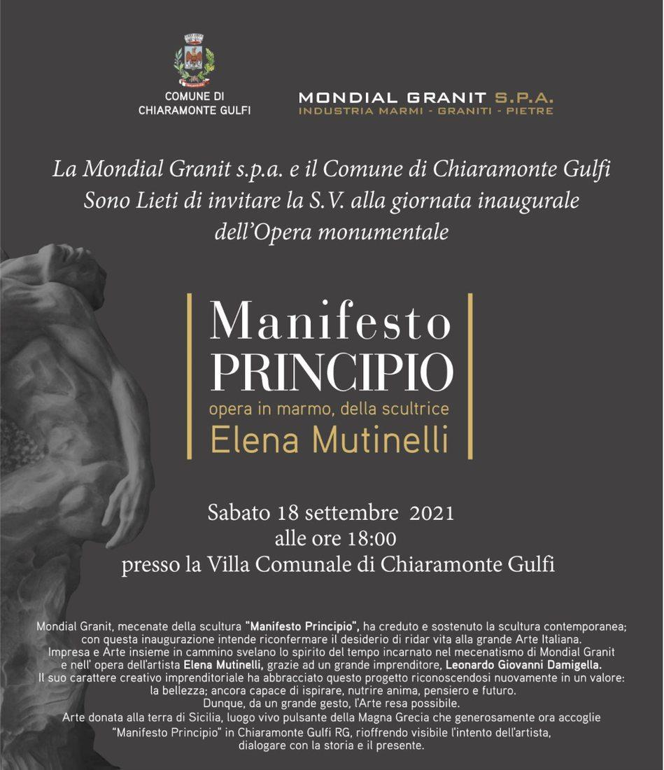 Elena Mutinelli. Manifesto principio alla villa comunale a Chiaramonte Gulfi