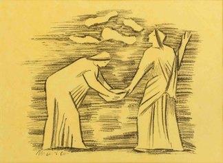 Arturo Martini, Viaggio d'Europa: La profezia di Clori, 1942, matita litografica su carta, cm 28x37