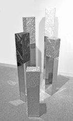 Manuela Toselli - Legami  Specchio #1-#2-#3-#4-#5- 2019 - Seta shantung, acciaio specchiato, legno e chiodi- dimensioni ambientali
