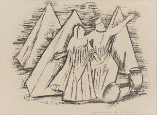 Arturo Martini, Viaggio d'Europa: Appare l'angelo Fenice, 1942, matita litografica su carta, cm 28x37