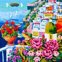 Faccincani, Vaso di gerani rossi a Positano, 50 x 50 cm, olio su tela, 2019