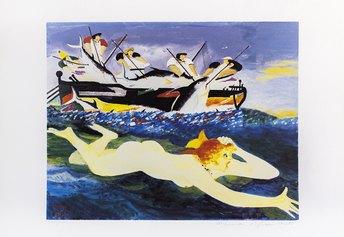 04.Fiume e Gianni Mattò, Mattanza con donnina, 50x70 cm, xilografia, 1989