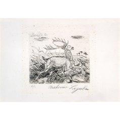 Ligabue, Cervo assalito dai cani, 37 x  55 cm, incisione a punta secca, 1954