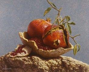 Natura morta con Melograni, 25 x 30 cm, olio su tela, 2019