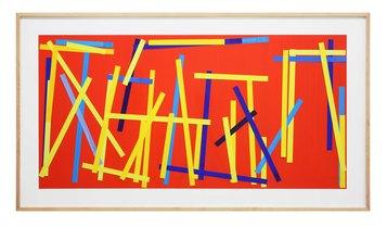 Imi Knoebel Fishing Red I E.  2007 - 2009  Acrylic on paper strips, collaged. Laid down on Alu Dibond panel / acrilico su strisce di carta a collage, adagiate su pannello Dibond 60 x 120 cm frame-K500 Courtesy Dep Art Gallery, Milano