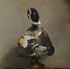 Nicola Samorì, Pentesilea, 2018, olio su ottone, 100 x 100 cm © Galerie EIGEN+ART, Leipzig / Berlin. AmC Collezione Coppola, Vicenza.