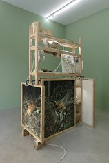 Jacopo Benassi, Untitled , 2021, wood structure, plaster, prints, mirror, fine art print, artist frame, 257×166×105 cm, Courtesy the artist and Francesca Minini, Ph. Andrea Rossetti