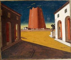 Giorgio de Chirico (Volo, 1888 - Roma, 1978). Piazza d'Italia con torre rosa, (1934). Mart, deposito Collezione L.F.