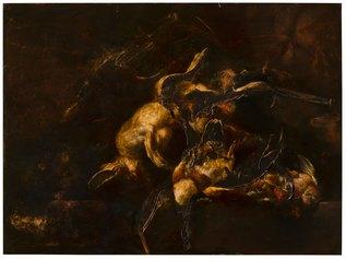 Nicola Samorì, Canto della carogna, 2020, olio su rame, 100 x 135 cm © Monitor Roma, Lisbona, Pereto. Foto Rolando Paolo Guerzoni