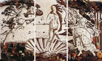 Vik Muniz - The Birth of Venus, after Botticelli (triptych) (Pictures of Junk), 2008 @ Vik Muniz. Courtesy Ben Brown Fine Arts London