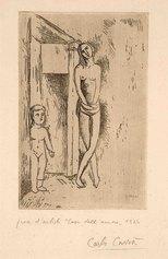 Carlo Carrà, La casa dell'amore o Attesa, 1924, acquaforte su rame, cm 24,8x16,6