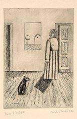 Carlo Carrà, La casa dell'amore II o Interno o La massaia, 1924, acquaforte su rame, cm 30,4x21,8