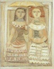 Massimo Campigli, Donne con l'ombrellino, 1940, olio su tela, 100 x 81 cm. - collezione privatav