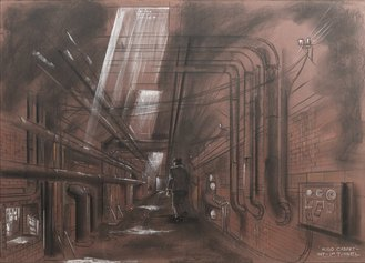 Dante Ferretti, Sweeney Todd. Il diabolico barbiere di Fleet Street (2008). Pastello su carta, 59x168 cm