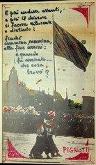 E più andava avanti, 1981, dalla serie quadretti 1981, 34x20,5cm, intervento poetico su fotografia di quotidiano.
