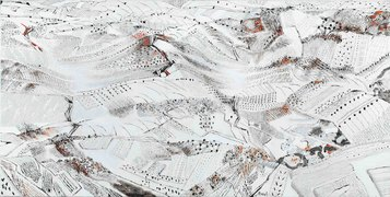 Perdita d'occhio, 2011 - Olio su intonaco intelato, 90 x 180 cm