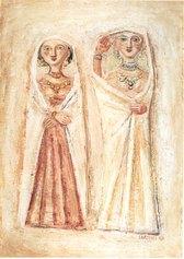 Massimo Campigli, Donne velate, 1943, olio su tela, 66 x 48 cm. - collezione privata, Bologna