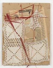 Maria Lai. Telaio di guerra, 1991. Serie di 5 opere. Carta, inchiostro, filo, 52x62 cm. Gorgonzola, collezione privata. Courtesy ©Archivio Maria Lai by Siae 2021