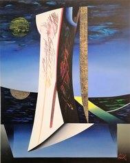 Lino Tardia - Donna in attesa - olio, tempera, acrilici, materiale vinilico e foglia d'oro zecchino su tela cm 100x80