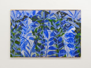 Thomas Berra, Blue Helsinki, gesso e acrilico su carta intelaiata, cm 120 x 180, 2020