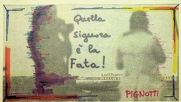 Quella signora è la fata!, 1981, dalla serie quadretti 1981, 12x22cm, intervento poetico su fotografia di quotidiano.