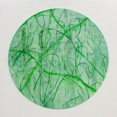 Thomas Berra, Elogio delle Vagabonde, olio e acrilico su tela, ⦰ cm. 200, 2017, ph. credit Marco Fava, collezione Spazio Leonardo