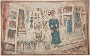 Massimo Campigli, Il villaggio, 1957, olio su tela, 195 x 315 cm. - collezione privata, Francia - photos: Arthus Boutin