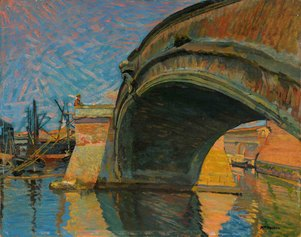 M. Puccini, Il ponte alla sassaia, olio su tavola, 34x41 cm., collezione privata