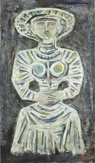 Massimo Campigli, Donna seduta, 1961, olio su tela, 116 x 68 cm. - collezione privata, Bologna