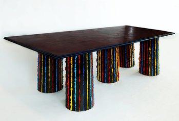 Tavolo in feltro, 2019, feltro imbevuto di resina, legno, 240 x 100 x H 73 cm
