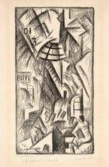 Carlo Carrà, La Galleria di Milano, 1912-1949, litografia su zinco, cm 36,4x19,2