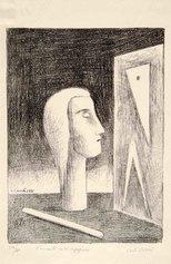 Carlo Carrà, L'amante dell'ingegnere, 1921-1949, litografia su zinco, cm 35,8x26