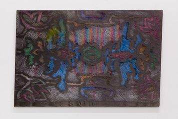 Anne Schmidt, Carpet 1 [Series End of Game], matita colorata e olio motore su poliestere, cm 60 x 90, 2021, courtesy l'artista e VIN VIN, Vienna