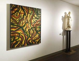 Veduta di allestimento con l'opera: Notturno, 2020. Acrilico e resina su tavola, cm 142 x 112,5 x 5. Courtesy Galleria Massimo Minini