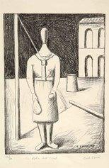 Carlo Carrà, La figlia dell'Ovest o La fanciulla dell'Ovest, 1919-1949, litografia su zinco, cm 35,9x25,8