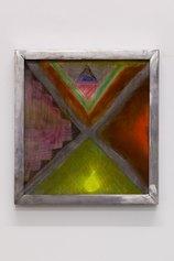 Anne Schmidt, Pattern [Series End of Game], matita colorata e olio motore su poliestere, cm 30 x 28, 2021, courtesy l'artista e VIN VIN, Vienna