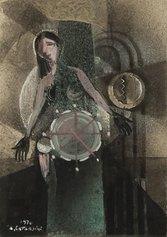 A. Catarsini, Simbolismo Meccanico, 1970, tecnica mista su carta