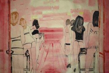 Adriana Luperto, All you can fuck, 2020, acquerello su carta di riso, 58x82cm