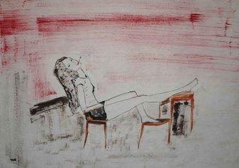 Adriana Luperto, Pausa, 2020, acquerello su carta di riso, 30x38cm