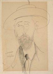 Amedeo Modigliani, Portrait de Paul Dermée, circa 1918-1920, matita su carta.