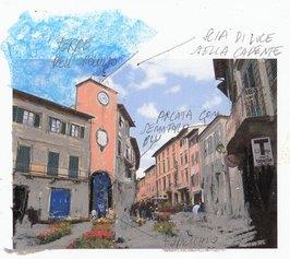 Antonello Ghezzi, Segnaletica per sognatori, 2021,  tecnica mista su carta. Progetto per Chiantissimo, Torre dell'Orologio, San Casciano in Val di Pesa