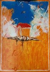 Mario Schifano, Casa di Guardia, 100x70 cm, serigrafia a smalto materica, 1988