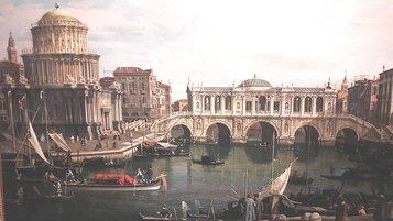 Antonio Canaletto (att.), Capriccio con ponte immaginario sul Canal Grande, seconda metà del XVIII sec. Olio su tela, 580x820 mm. Complesso monumentale della Pilotta, Parma