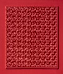 Claudio Rotta Loria, Superficie a interferenza luminosa 1Rx80 abcd su rosso con linea, 2009, acrilico, fluorescente, cartoncino su tavola, 70x60x1cm