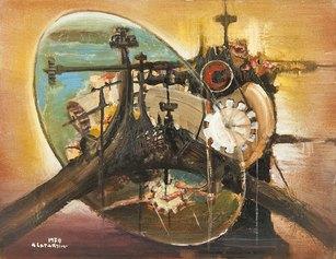Composizione meccanica, 1970, 75x62 cm, olio su tela, Collezione privata