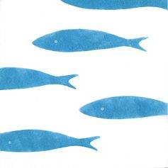 Cusumano, Pesci (blue), 30x30 cm, tecnica mista su carta, 2020