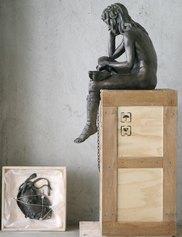 Daniele Accossato - Box n 4 (David di Donatello_ 2017, jesmonite, legno e ossidi di metallo - cm 150 x 60 x 50
