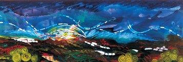 Diari La luce degli Appennini, 1999_Industrial paint su tela, 120 x 380 cm_Sala del Consiglio del Comune di Langhirano e Comunità Montana, Langhirano, Parma