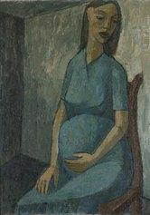 Willy Leiser, Donna incinta, 1951, Olio su tavola