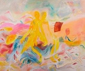 Francesca Banchelli, Event, 2020, Olio e acrilico su cotone, 180x150cm (Ex Fonderia d'Arte Luigi Tommasi, Via Marconi 48)